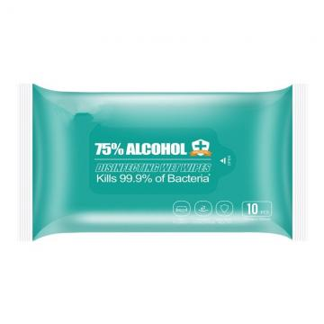 Custom Package Medical Grade 75% Alcohol Surface Sanitizing Wipes Antibacterial Wet Wipes