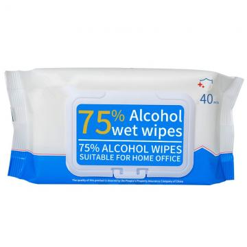 OEM 10 pieces packed 75% alcohol wet wipes to kill 99.9% bacteria