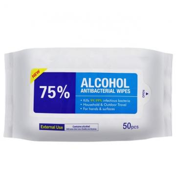 New Arrival 50pcs/Bag 75% Alcohol Wipes Disinfection Alcoholic Wet Wipes With Low Price